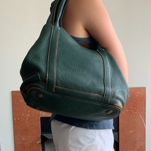 J. Crew • Green Leather Tote
